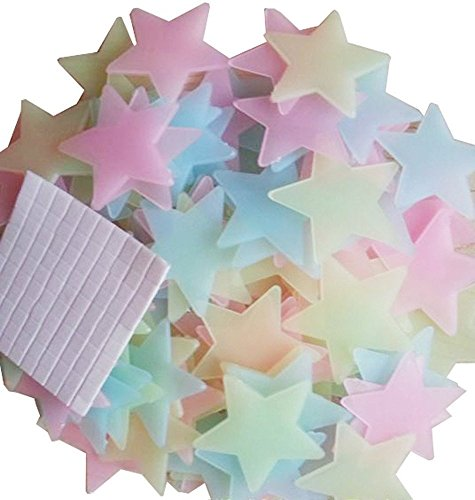 Fluorescent Luminous Stars Plastic Wall Stickers Mural Decals Family Children S Bedroom Decoration Colorful Glow