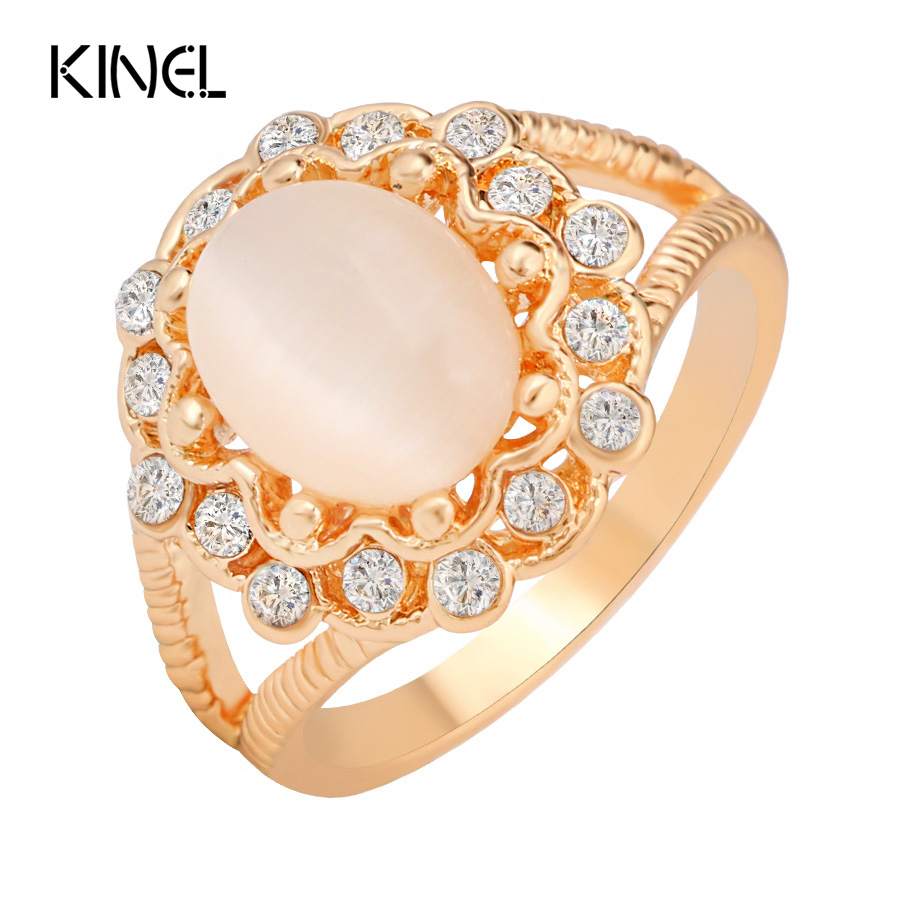 kinel 2016 new fashion gold opal rings for studded