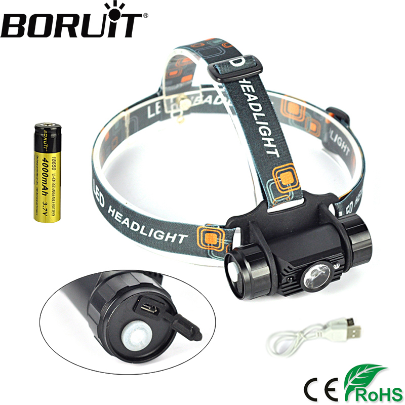 Boruit 020 3W Mini Headlight with IR Sensor Usb Rechargeable Lantern Headlamp 350LM 1Mode Flashlight Head