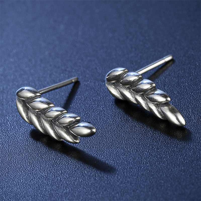 AZIZ BEKKAOUI Authentische 925 Sterling Silber Zweig der Baum Blätter Stud Ohrringe für Frauen Sterling Silber Schmuck Geschenk