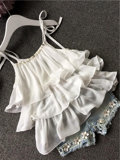 2018 Summer Korean childrens clothing girls suit Chiffon cake sling + pants 2pcs pearl flower halter top denim shorts kids S girls in pants third summer