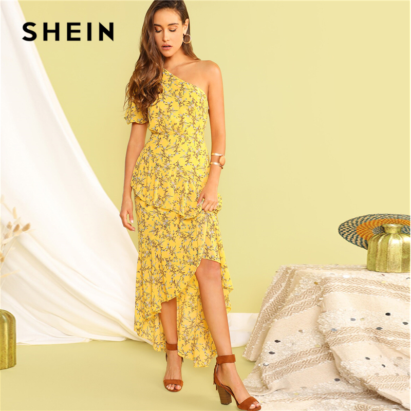 Image 3 - SHEIN Boho Yellow One Shoulder Layered Asymmetrical Ruffle Hem 