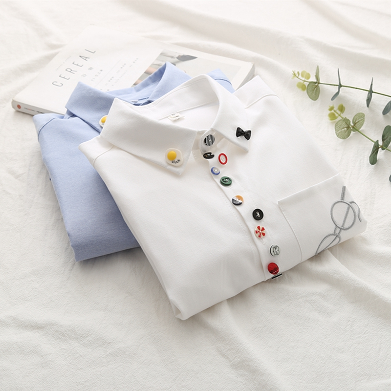 100% Cotton 2019 Summer New Women White Shirts Embroidery Casual Lady Blouse Tops Outwear