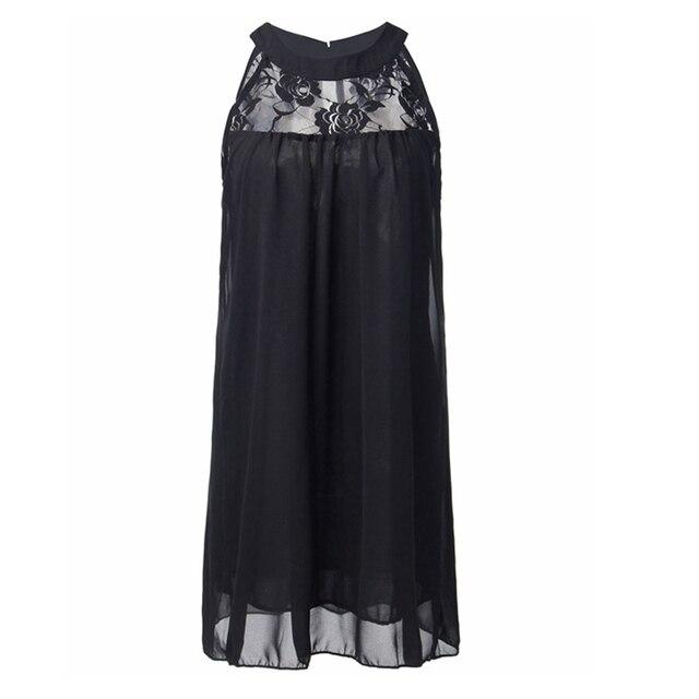 2016 Summer Style Zanzea Women Sexy Lace Patchwork Chiffon Dresses Sleeveless Casual Loose Party Mini Dress Vestidos Plus Size