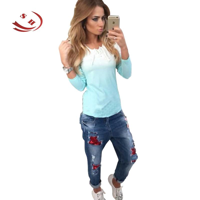 Přechodová barva Jaro podzim Dámské ležérní tričko Oblečení šněrovací tričko s dlouhým rukávem
