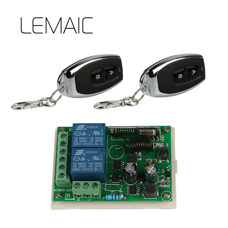 LEMAIC 433 Mhz Universal Wireless Remote Control Switch AC 85V 110V 220V 2CH Relay Receiver Module And RF Remote Controls