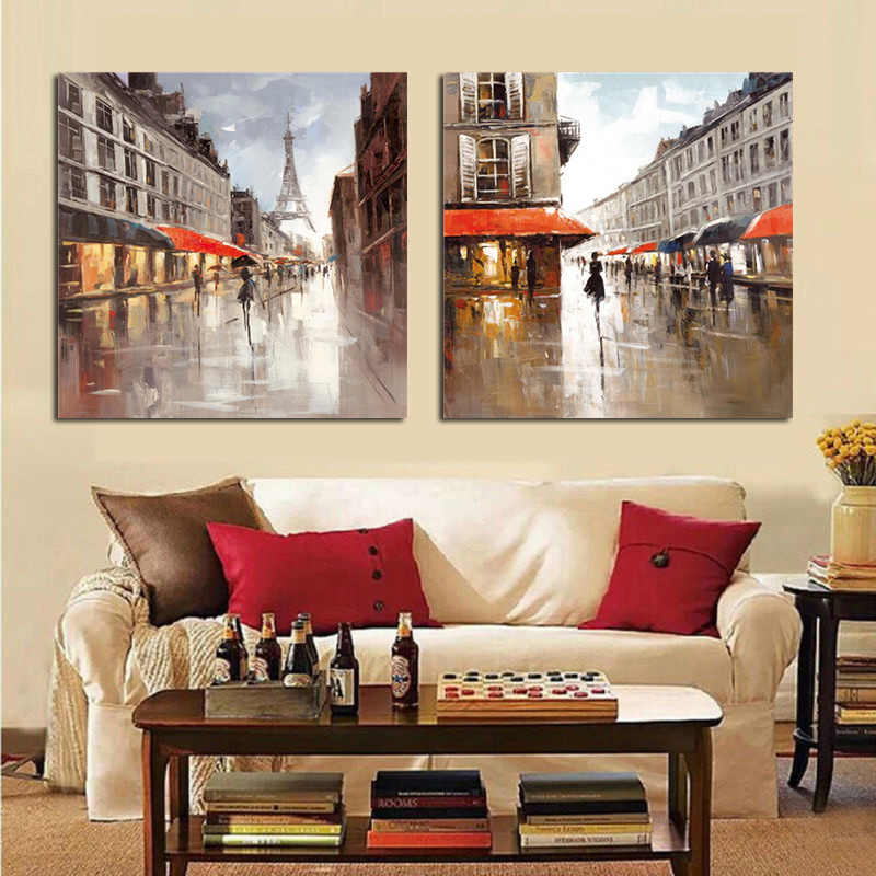 Abstract Paris City Street Eiffel Tower Landscape Oil Painting on Canvas Poster Print Scandinavian Wall Picture For Living Room