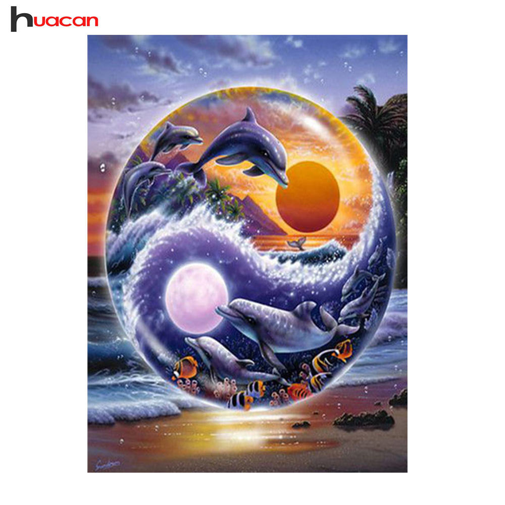 HUACAN Diamond Painting Cross Stitch Dolphin Diamond Embroidery Animal Full Round Resin Drill Mosaic Rhinestone Home DecorHUACAN Diamond Painting Cross Stitch Dolphin Diamond Embroidery Animal Full Round Resin Drill Mosaic Rhinestone Home Decor