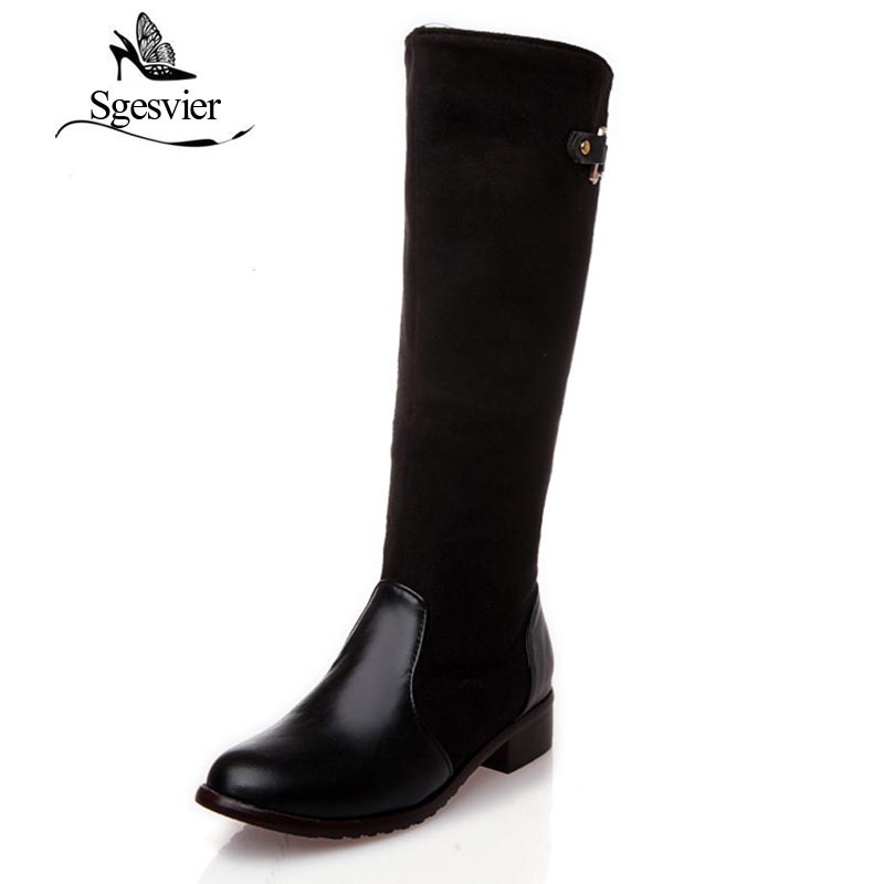 SGESVIER Women Shoes Mid Calf Boots Fashion Thick Heel Half Boots Comfort Stretch Round Toe Boots Women Botas Size 30-47 OX133