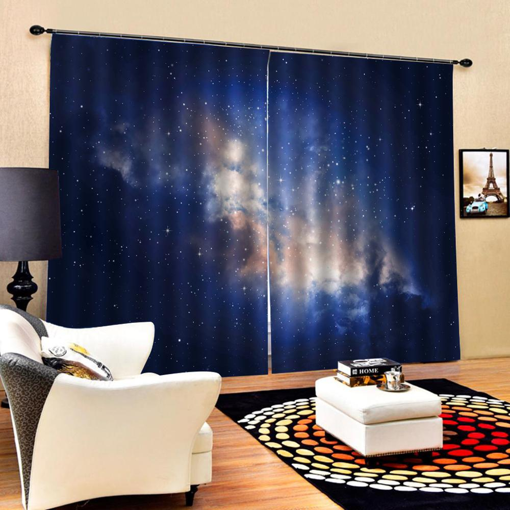 Customized size Luxury Blackout 3D Window Curtains For Living Room blue Starry sky curtains Blackout curtain