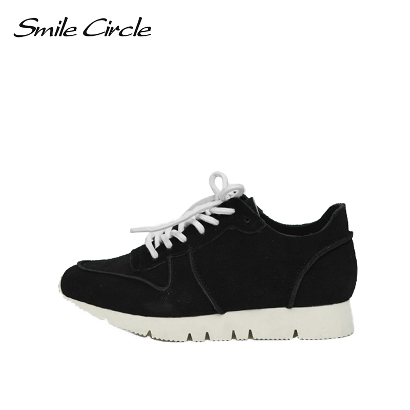 Smile Circle Women Suede leather Sneakers Fashion Casual Flat Platform Shoes Women sneakers Spring/Autumn 2018 smile circle spring autumn sneakers women lace up flat shoes for women fashion rhinestones casual platform shoes flat shoes girl