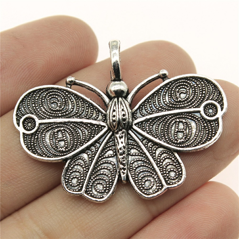 WYSIWYG 4pcs 41*31mm butterfly Pendants Charms Findings Jewellery Making Findings for DIY Craft