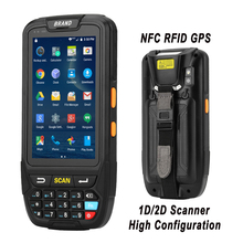 Android 7.0 Handheld pos terminal with NFC UHF RFID reader memory 4 inch large screen Data Terminal 1D,2D Laser Barcode Scanner цены онлайн