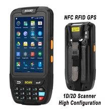 Android 7.0 ręczny Terminal płatniczy z NFC czytnik RFID UHF pamięci 4 cal duży ekran terminale do pobierania danych 1D, 2D laserowy skaner kodów kreskowych
