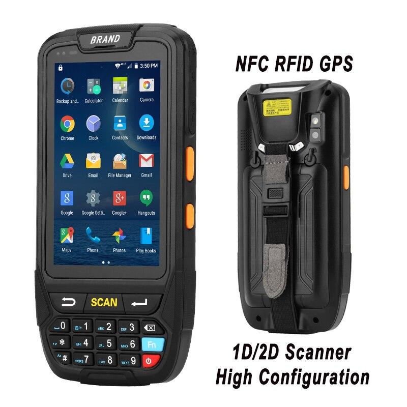 Terminal handheld 1d dos dados da tela grande de 4 polegadas, varredor do código de barras do laser 2d terminal handheld da posição de android 7.0 com memória do leitor da frequência ultraelevada rfid de nfc