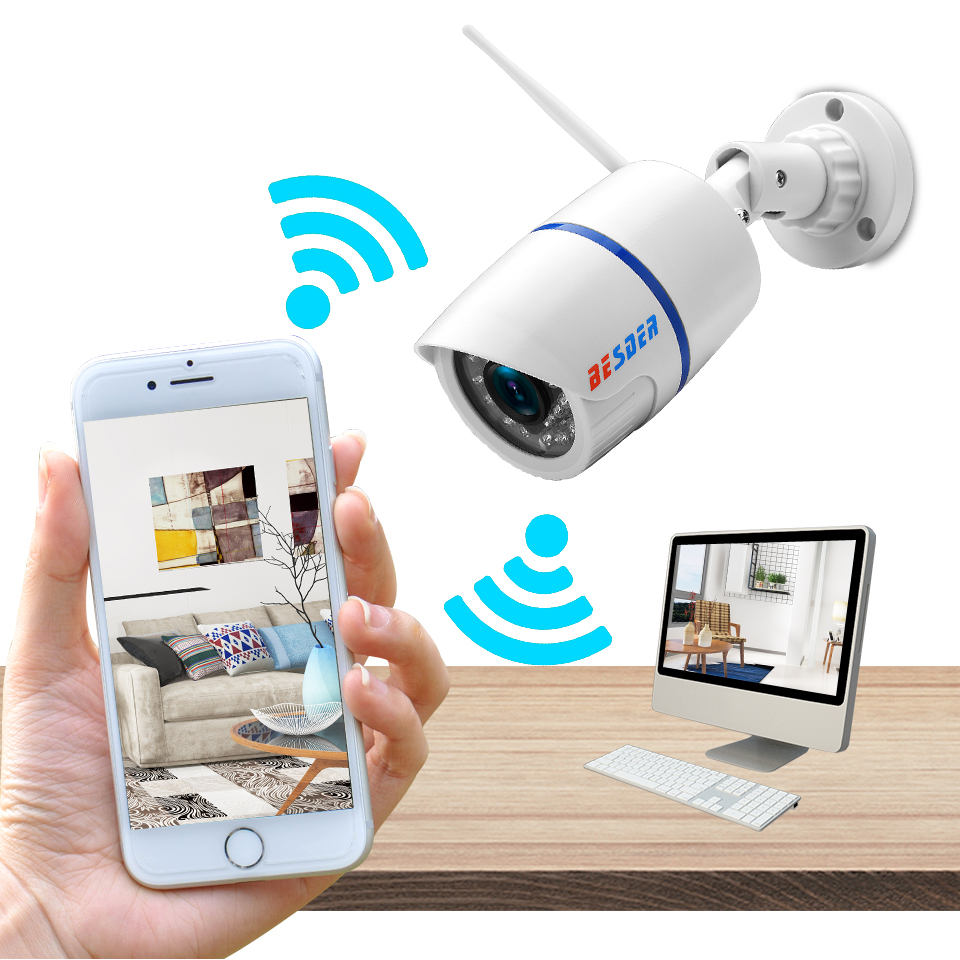 Image 3 - BESDER Audio 720P 1080P Wifi Ip CCTV Outdoor Camera Surveillance White Waterptoof Onvif Wireless Camera With SD Card Slot CamHi-in Surveillance Cameras from Security & Protection