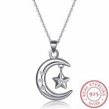 Müslüman hilal kolye kolye 925 ayar gümüş kübik zirkonya CZ İslam ay yıldız kolye takı yaka de Prata kadınlar