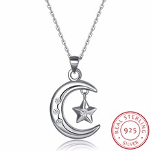 Muslim Crescent Pendant Necklace 925 Sterling Silver Cubic Zirconia CZ Islam Moon Star Necklace Jewelry Colar de Prata Women