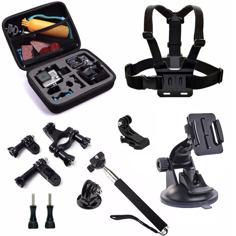 For GoPro Set Monopod Mount Tripod Float Bobber Chest Belt Set For Go Pro Hero 4 Session 3 SJCAM SJ4000 Xiaomi yi Camera