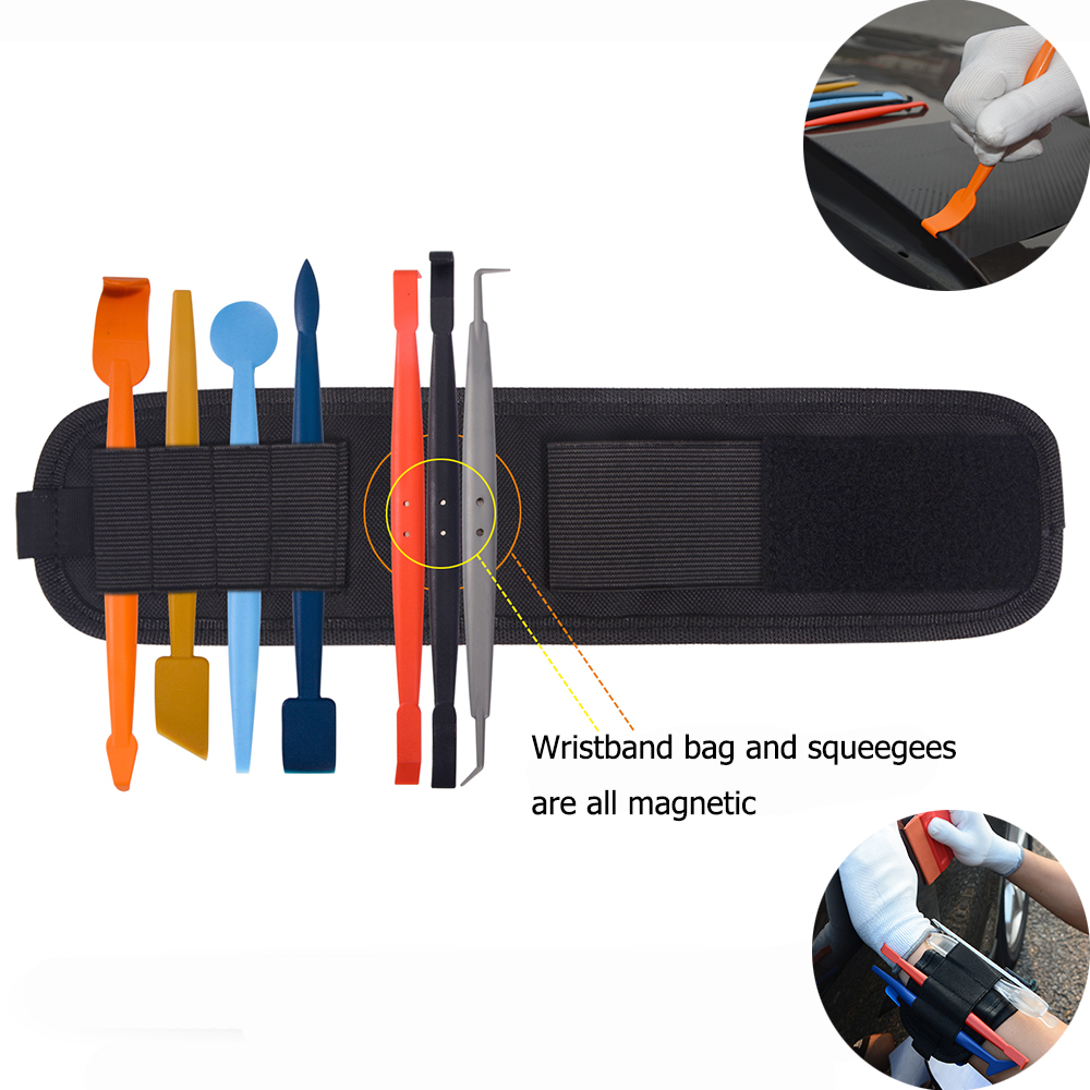 EHDIS 8pcs Vinyl Car Wrapping Magnetic Squeegee Kit+Magnet Wristband Tool Bag Carbon Film Auto Car Sticker Wrap Window Tint Tool