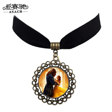 ASACH 8 Colors Beauty and the Beast Round Pendant Choker Necklaces Cartoon Anime Jewelry Black Velvet Chocker Necklace For Women