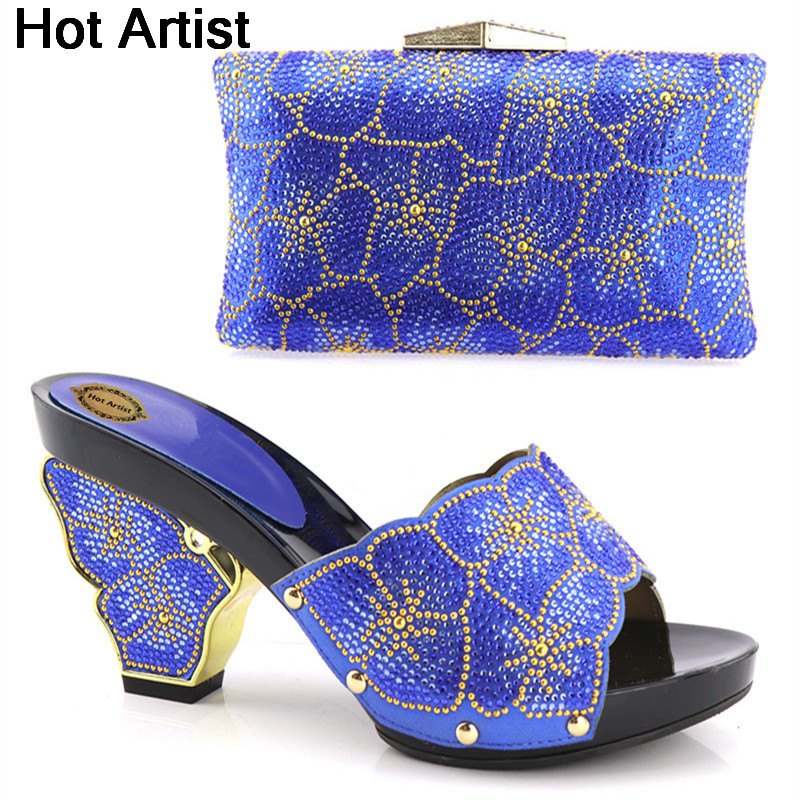 Hot Artist Blue Color African Woman Shoes And Matching Bags Set Fashion Italian Woman High Heels Shoes And Bag Set YH-11