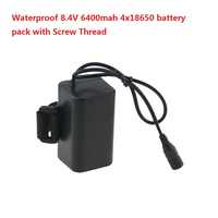 Imperméable à l'eau 8.4 V 4x18650 6400 mah Rechargeable li-ion batterie avec filetage pour led vélo lumières, solarstorm x2 x3 ect
