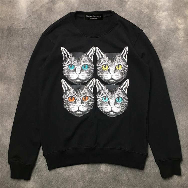 Fashion women/men casual loose pullovers hoody Tops New 2018 autumn cute cat print sweatshirt Tops D188