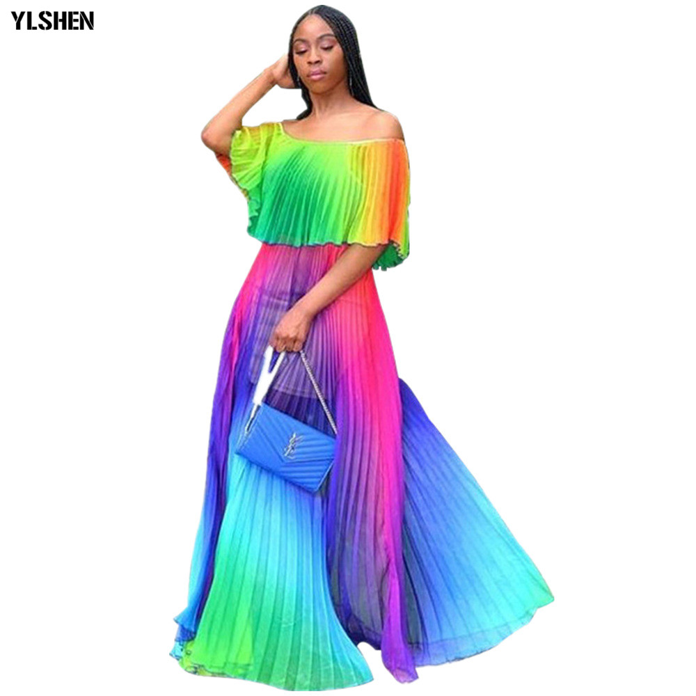 Gradient Pleated African Skirt Super Size African Dresses For Women 2019 New Styles Bazin Vestidos Dashiki Africa Beach Dress
