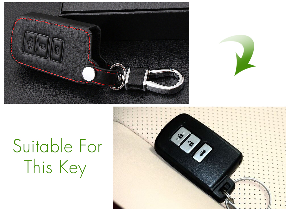 Image 3 - Genuine Leather Remote Control Car Keychain Key Cover Case For Toyota Camry Crown RAV4 Corolla Prado Prius 3 Buttons Smart Key-in Key Case for Car from Automobiles & Motorcycles