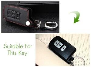 Image 3 - עור אמיתי שלט רחוק רכב Keychain מפתח כיסוי מקרה עבור טויוטה קאמרי כתר RAV4 קורולה פראדו פריוס 3 לחצנים חכמים מפתח