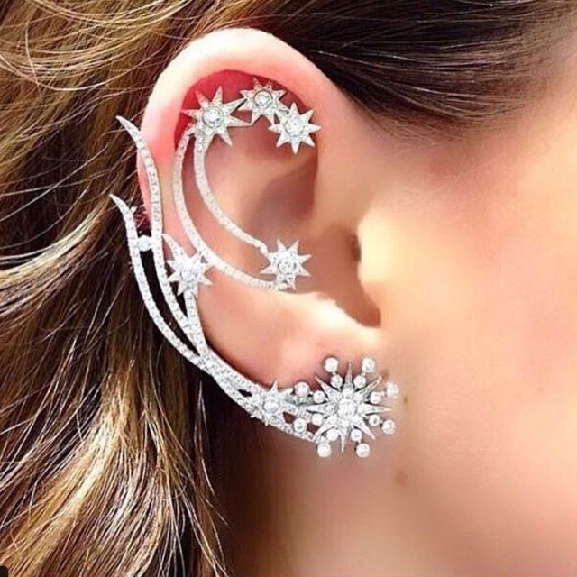 new monaco designer brand accessories irregular zircon silver crystal earring ear hanging moon stars ear clip earrings women