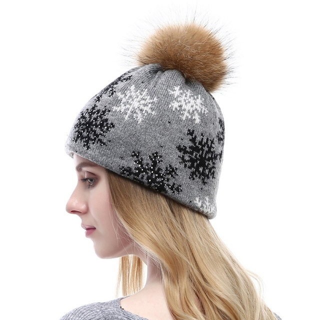 Mink Pom Poms Wool Rabbit Fur Cashmere Knitted Hat Skullies Fashion