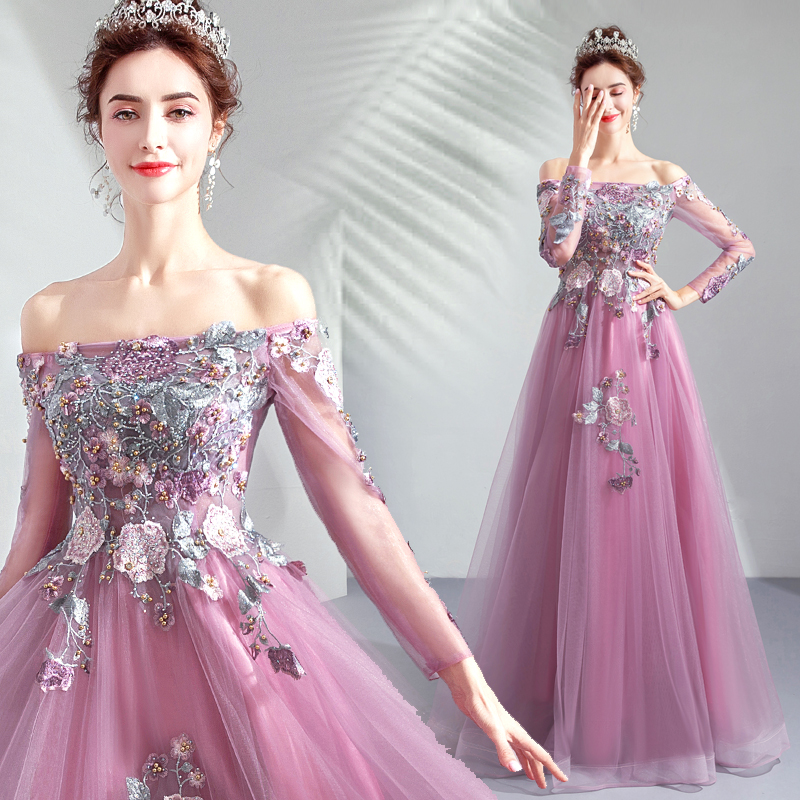 Prom Dress Purple Long Sleeves Lace Appliques Beaded A-line Boat Neck Evening Party Dress