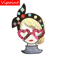 embroidery Sequined belle patches for jackets,glasses girls badges applique patches for clothing A640 embroidery sequined belle patches for jackets glasses girls badges applique patches for clothing a640