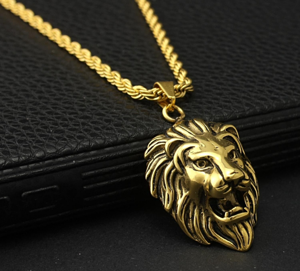 Men S Biker Vintage Gold Tone Stainless Steel Lion Head