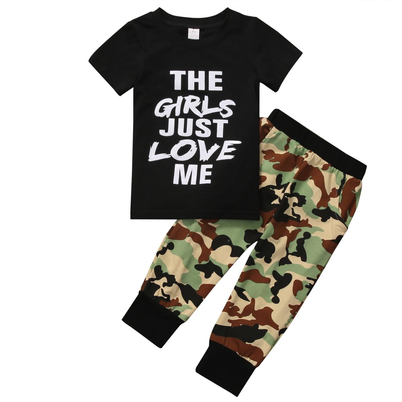Одежда для малышей комплект одежды для мальчиков Cool Boy Новинка 2017 года футболка с короткими рукавами топ + длинные камуфляжные Брюки для дев...