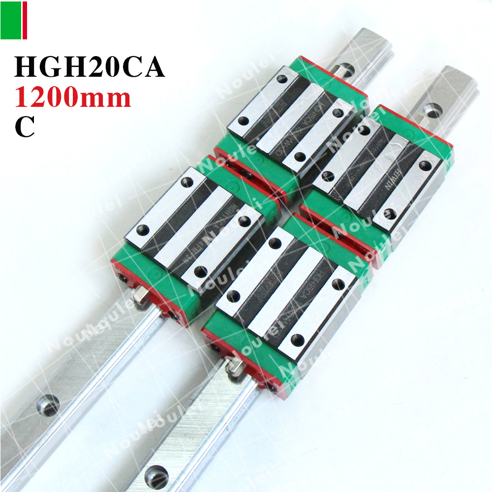 HIWIN HGH20CA slide block with 1200mm linear guide rails 20mm HGR20 for cnc parts 2pcs hiwin hgh25ca linear guide slider block linear rails carrier