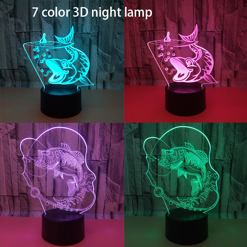 Creative Fishing 3D Lamp USB Led Night Light Remote Switch 7 Color Change Indoor Lamp Hook Carp Fish Desk Lamp For Toy Gift