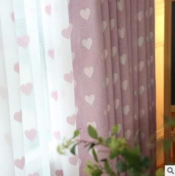 Modern simple window curtain embroidery curtain Heart-shaped linen screens Living room / bedroom / study shade curtain modern simple cotton linen stereo embroidery curtain dolly curtain screen american country curtains for living room and bedroom