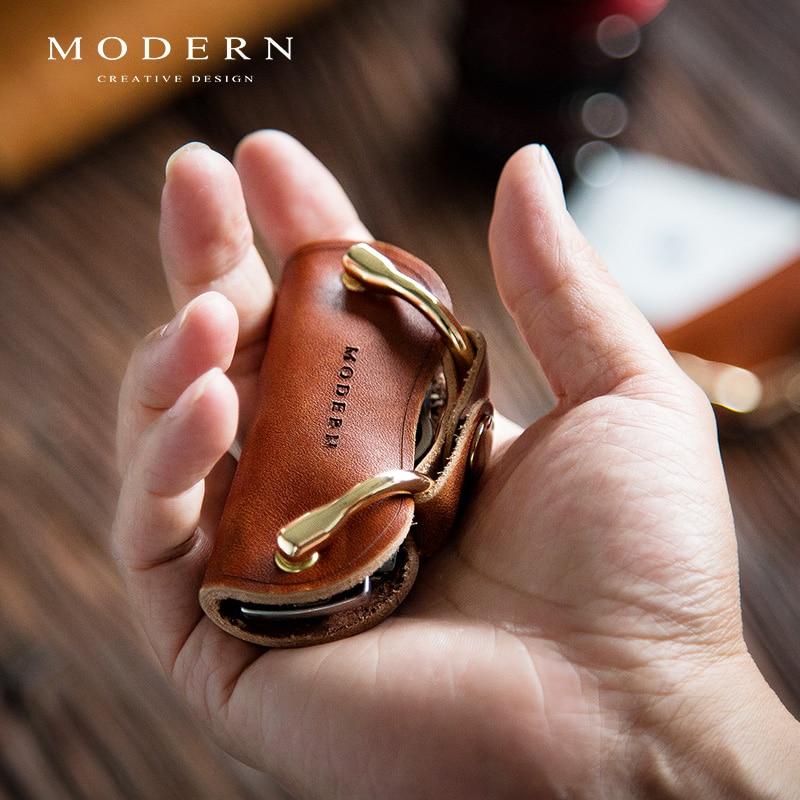 Modern - Brand New Genuine Leather Smart Key Wallet DIY Keychain EDC Pocket Car Key Holder Key Organizer Holder ช้างน้อย น่า รัก วาด