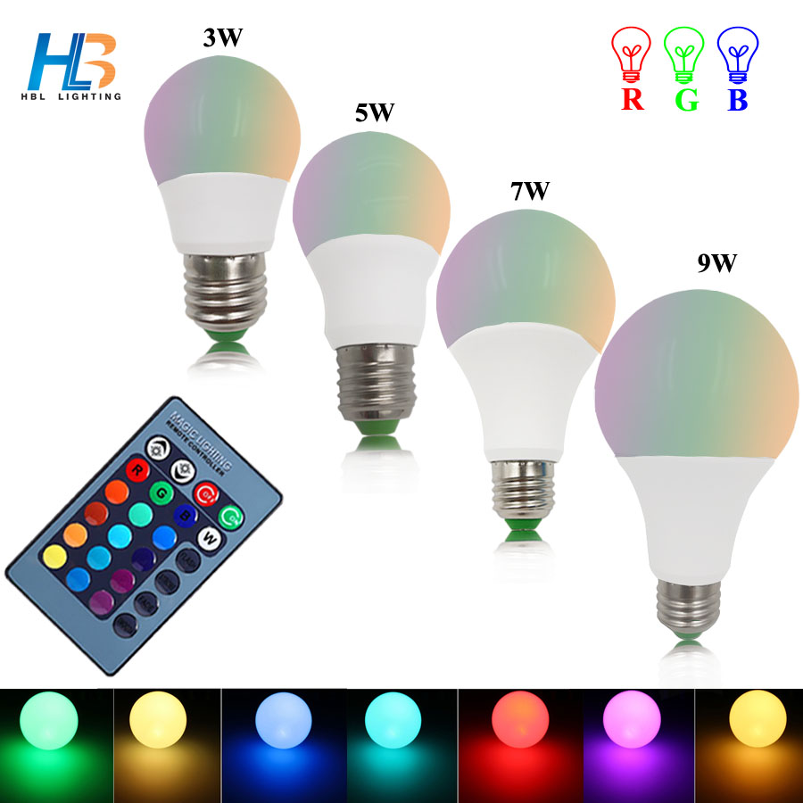 HBL RGB RGBW Led Bulb E27 3W 5W 7W 9W AC85-265V  RGB Led Light Lampada 16 Color Change With Remote Controller for decoration enwye brightness 10w rgb e27 led bulb light stage lamp 12colors with remote control led lights for home ac85 265v rgbw rgbww