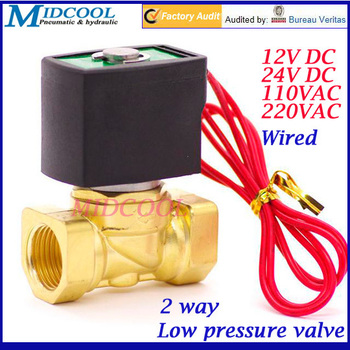 "0-1bar Low pressure with Wiring 2 way Fuel gas solenoid valve DN50mm 2"" NBR brass direct acting valve NC type 220V AC"