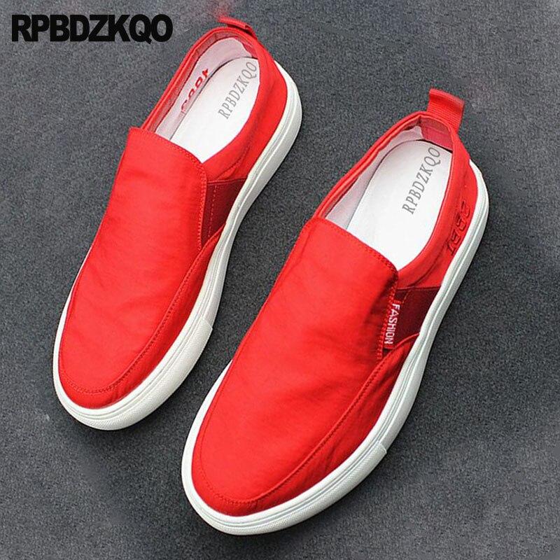 Appartements Casual Designer Toile Mode Hommes Dernières Noir Sur Skate Solide 2018 Respirant Caoutchouc Noir Glissent Rouge Chaussures De rouge En Semelle Printemps 4wqxA6U