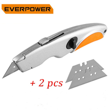 EVERPOWER Folding Knife Electrician Stainless Steel Utility for Pipe Cable Cutter Knives with 2pcs Blades Dropshipping