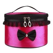 DHBH-Women Cosmetic Bag Travel Makeup Make up Storage Organizer Box Beauty Case-Rose red + dots