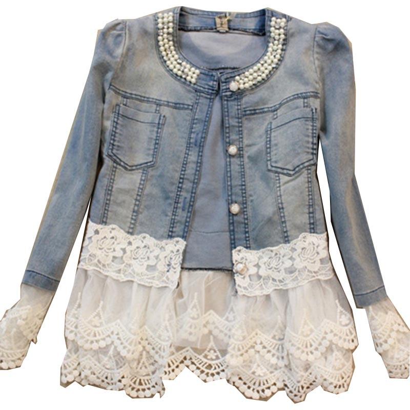 New 2017 Spring Jackets Women Outerwear Slim Lace Patchwork Long-sleeve Denim Jacket Lady Vintage <font><b>Jeans</b></font> Jacket Lace Jacket JK454