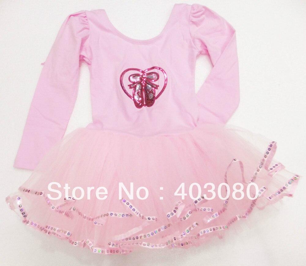 ▻Retail-Pink Ballet chica de manga larga, niños falda de ballet ...