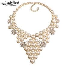 Ladyfirst 2016 Simulado Perla Cristal Gema de La Flor Collares y Colgantes Collar de La Vendimia Al Por Mayor de Declaración Collier Collar 3550