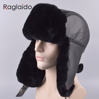 Raglaido Men's Hat with Ear flaps Ushanka Bomber Hats Winter a cap Snow Russian Hat made of fur Thick Warm Adjustable LQ11199-R